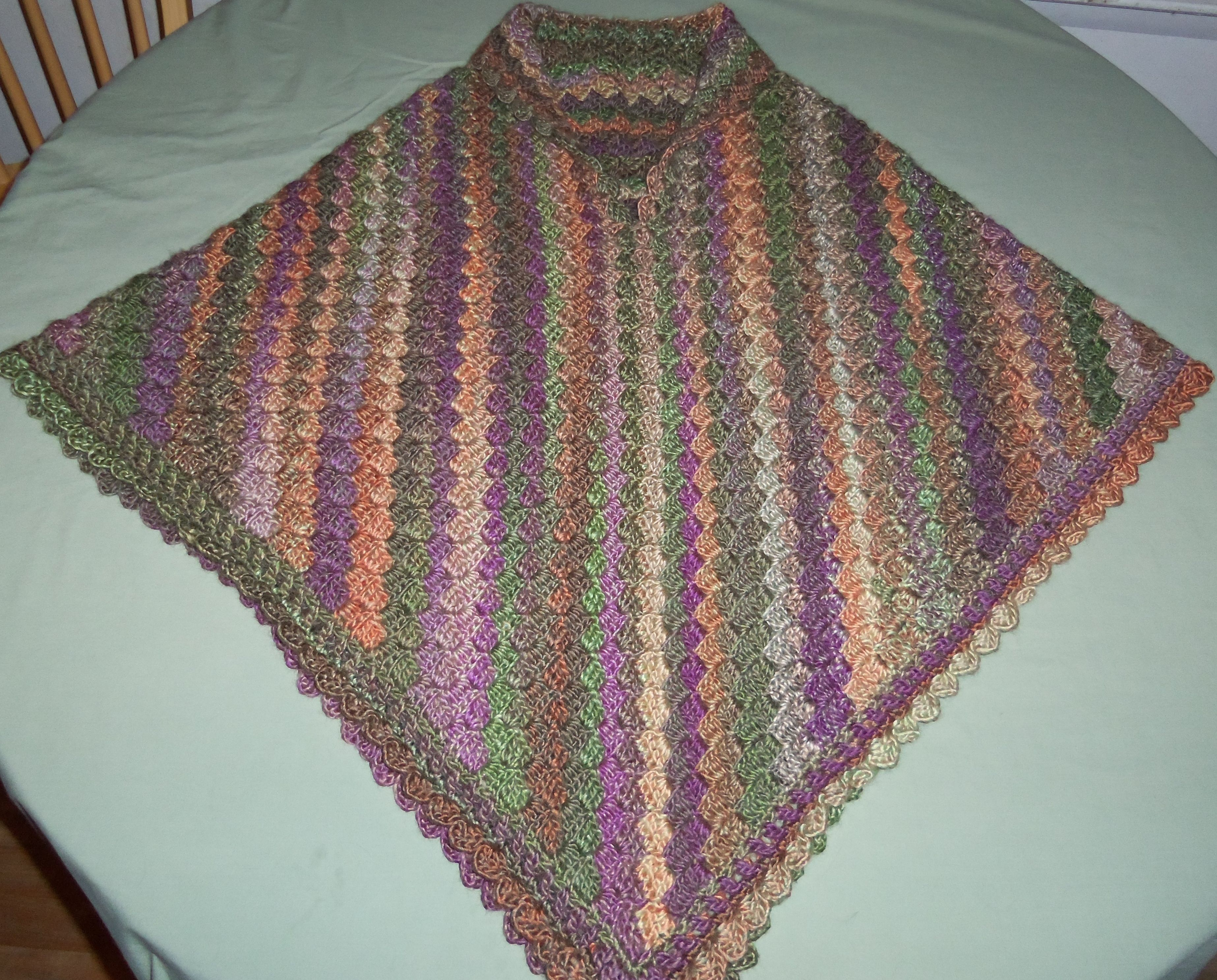 C2C shawl, crocheted the front together to make a poncho