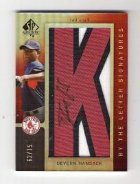 Devern Hansack 2007 SP Authentic By The Letter Autograph  #62/75 - Boston Red Sox - Free Shipping