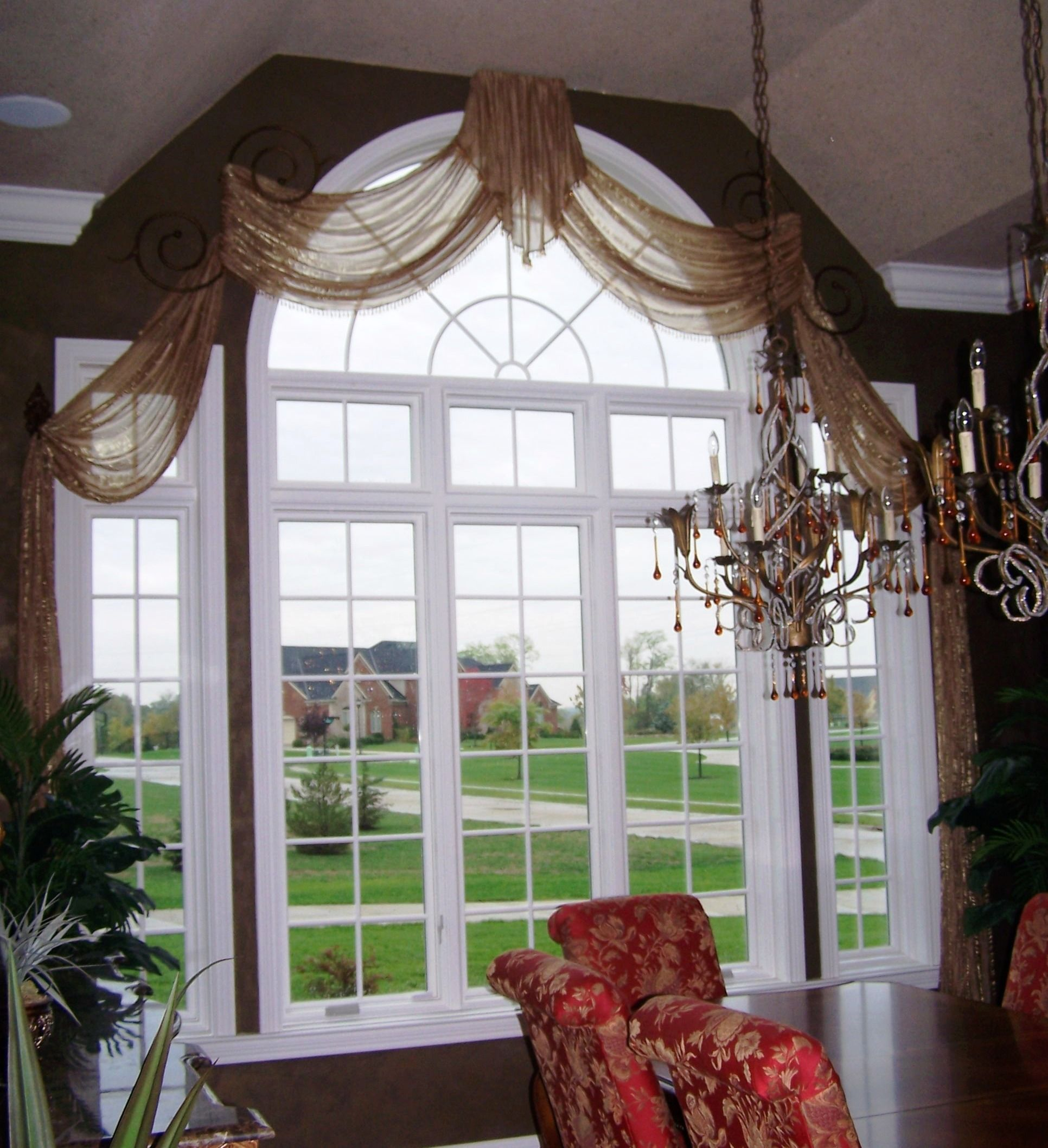 Sheer Arched Swags Custom Window Treatments Arched