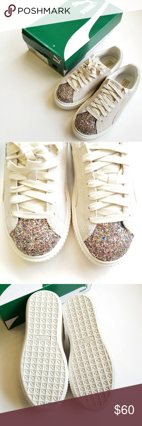 40bae3bf60d2 Puma Suede Platform crushed Gem Add some sparkle to your step with these  New in the Box marshmallow Suede Platform sneakers from Puma.