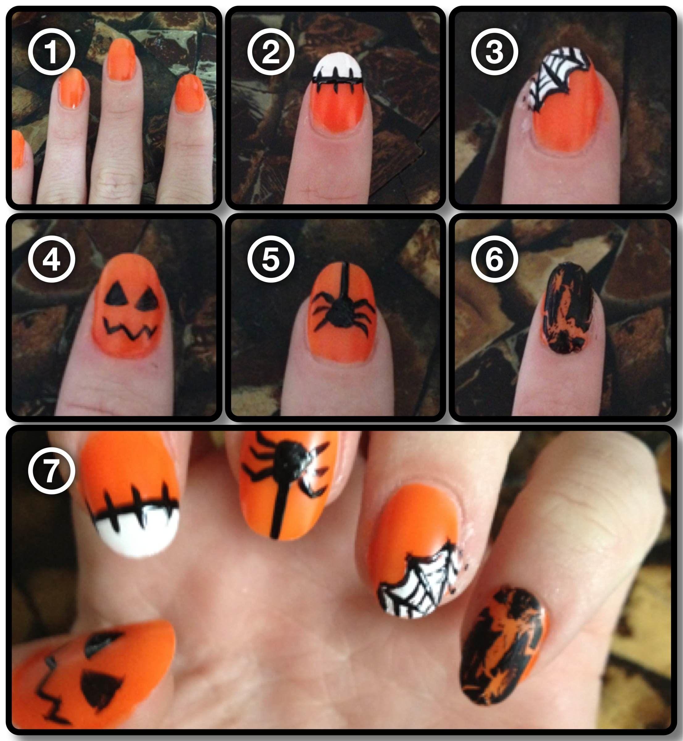 Halloween Nail Steps Orange Nail Designs Orange Nails Halloween Nails