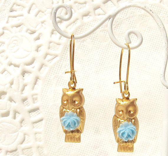 Bloom  Gold Owl Earrings by NestingPretty on Etsy, $14.00