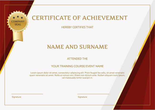 Red Border English Certificate Certificate Template Training