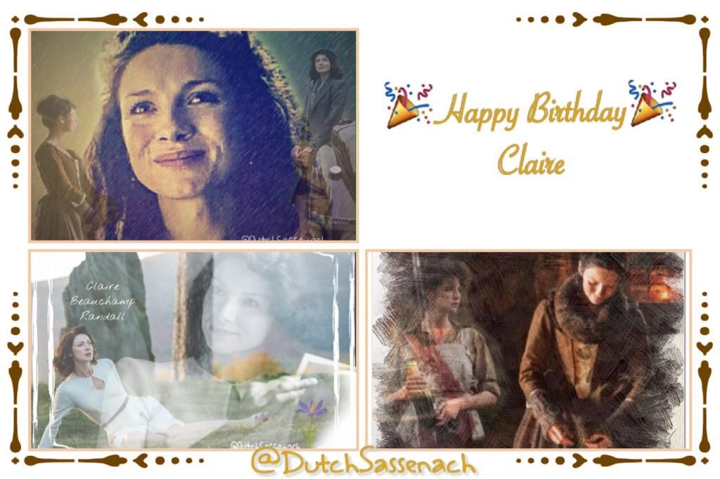 """#ClaireBday  TY @Writer_DG for giving❤️ @caitrionambalfe for bringing alive❤️ @karenh3a for OLupdates&reminders❤️"""