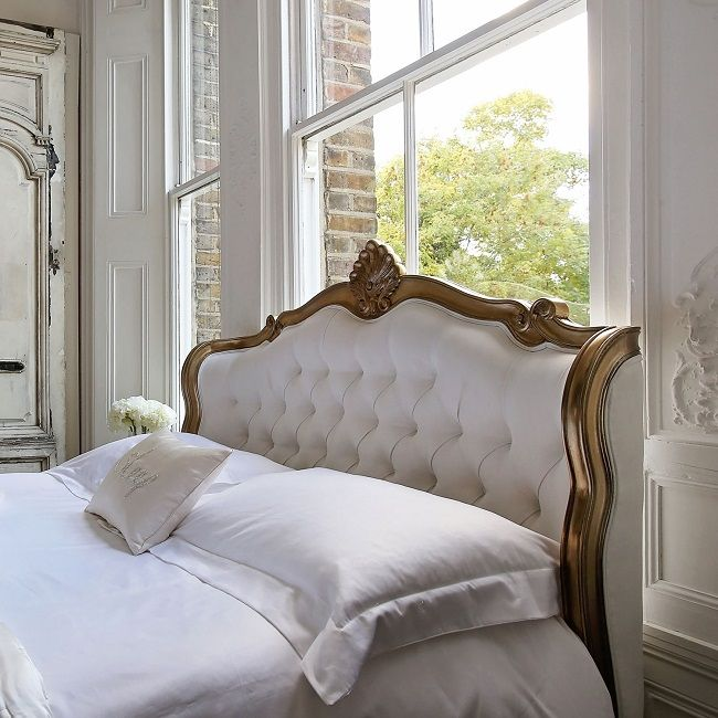 upholstered french beds, champagne gold shell headboard