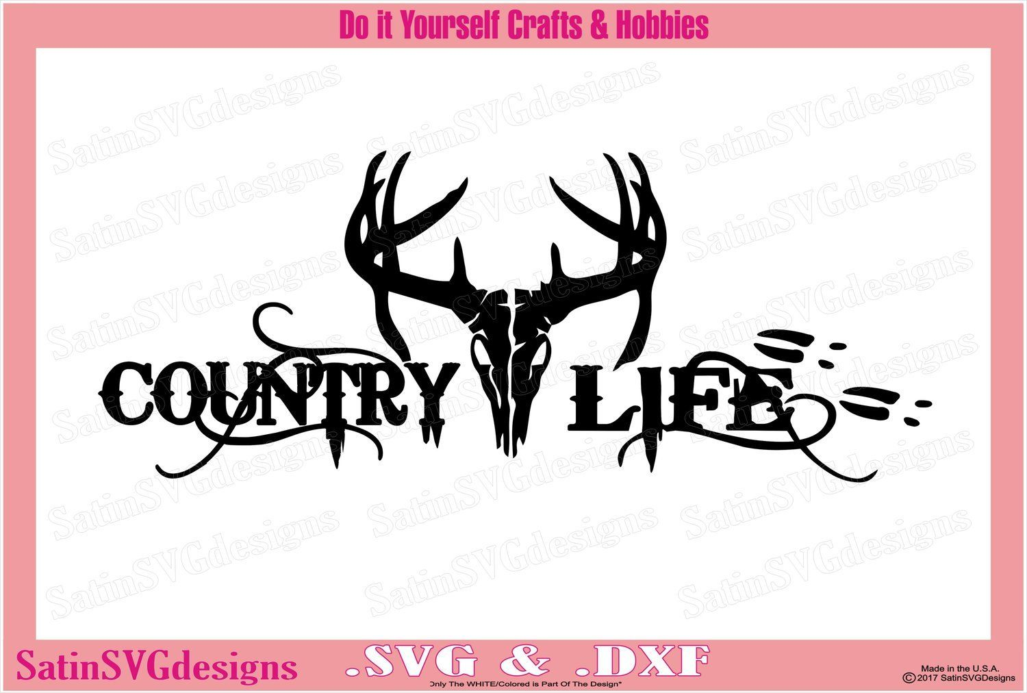Country Life Deer Skull Design SVG Files, Cricut