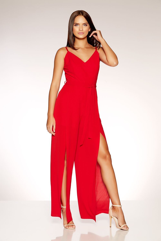 6e156db3a72 Red Front Split Wide Leg Jumpsuit - Quiz Clothing