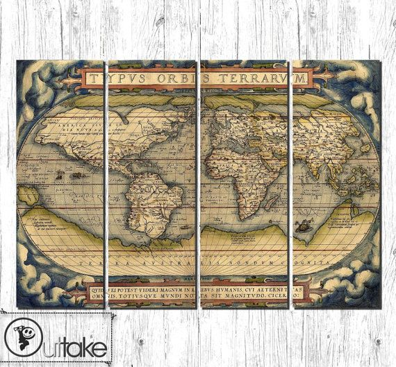 Old world map large canvas art ready to hang interior wall decor old world map large canvas art ready to hang interior wall decor on 4 publicscrutiny Image collections