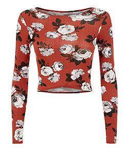 Teens Chestnut Brown Rose Print Long Sleeve Crop Top