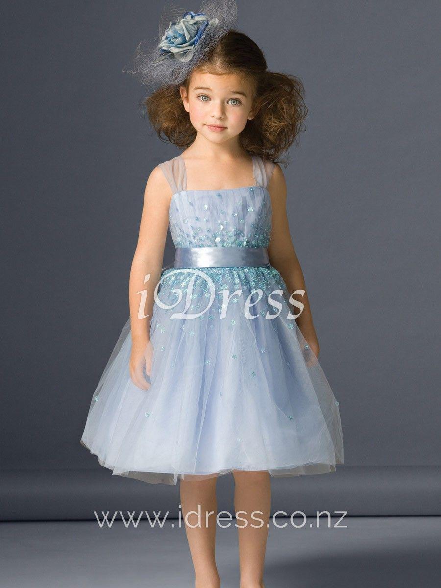 38f3af74dd8 Light Blue Tulle Short Beautiful Daisy Sequins Flower Girl Dress ...