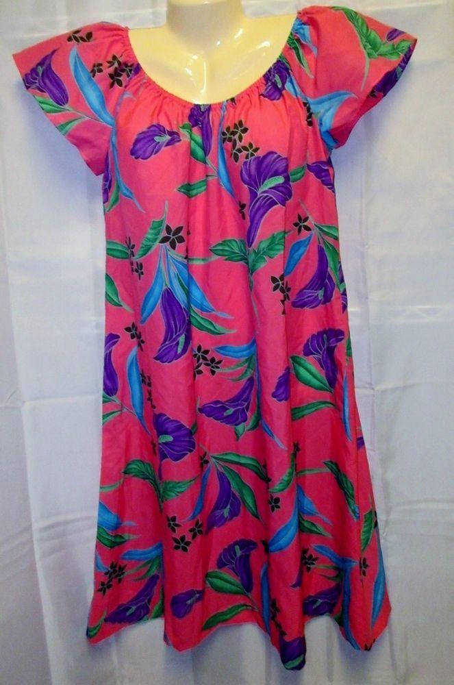 b2ae8605ea32 NWT VTG 80's Hilo Hattie M MuuMuu Hawaiian Dress Floral Pink Hibiscus Silky  New #HiloHattie #Hawaiian #SummerBeach