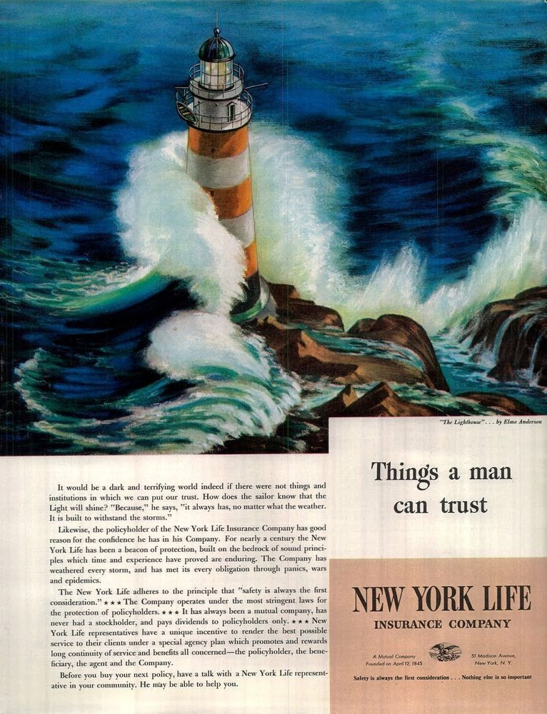 1941 New York Life Insurance Ad The Lighthouse Art By Elmo Anderson Trust 4103 New York Life Life Insurance