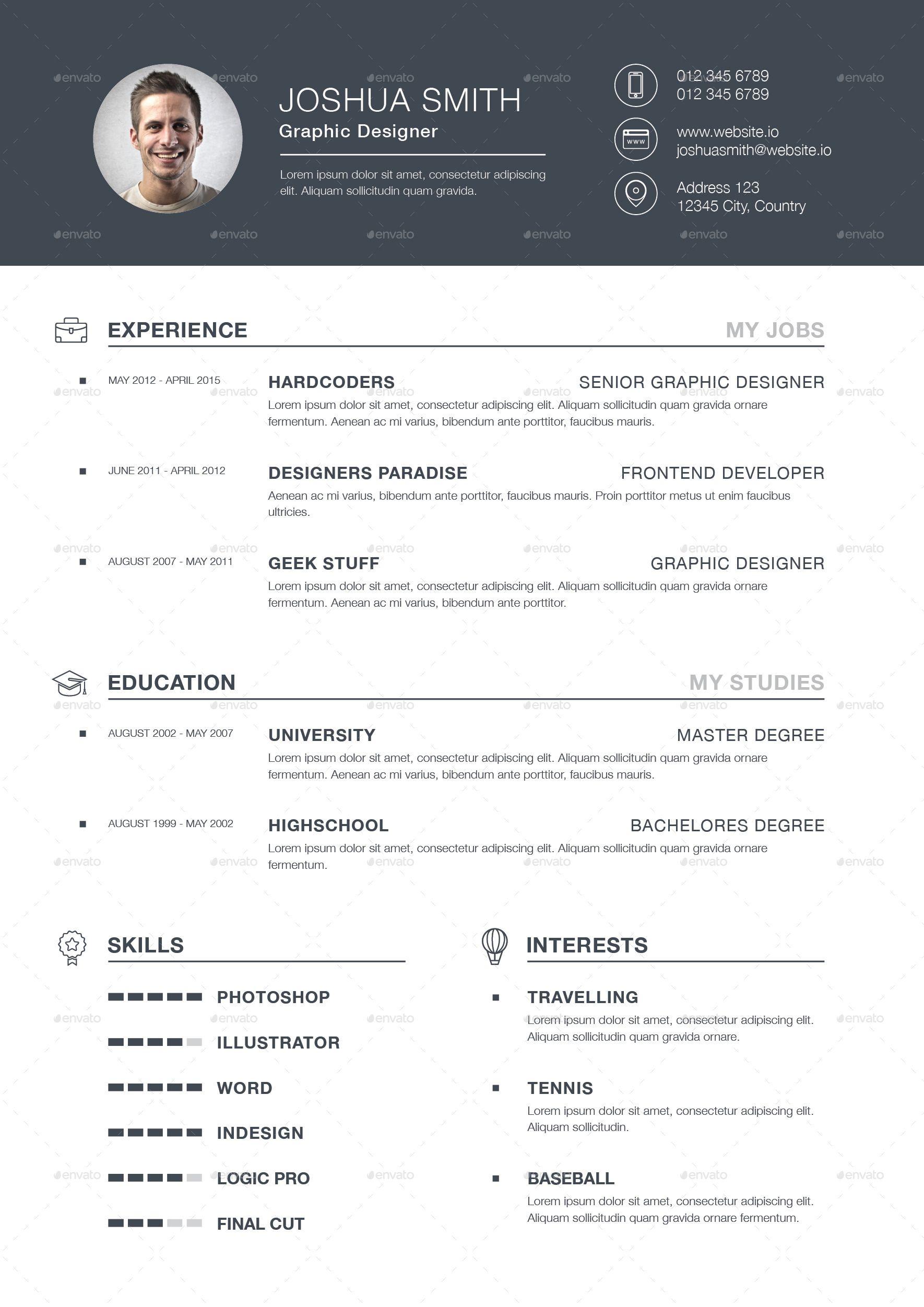 3piece resume cv resume cv graphic design resume