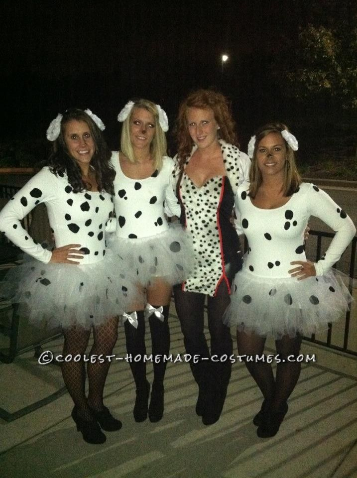Cute and Fun 101 Dalmatians Girls Group Costume 101 dalmations - cheap group halloween costume ideas
