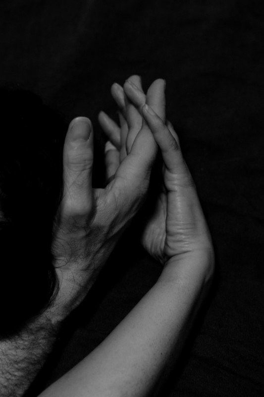 Lovers Holding Hands Bw