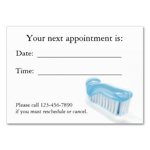Dental appointment card appointments card templates and business dental appointment card fbccfo Choice Image