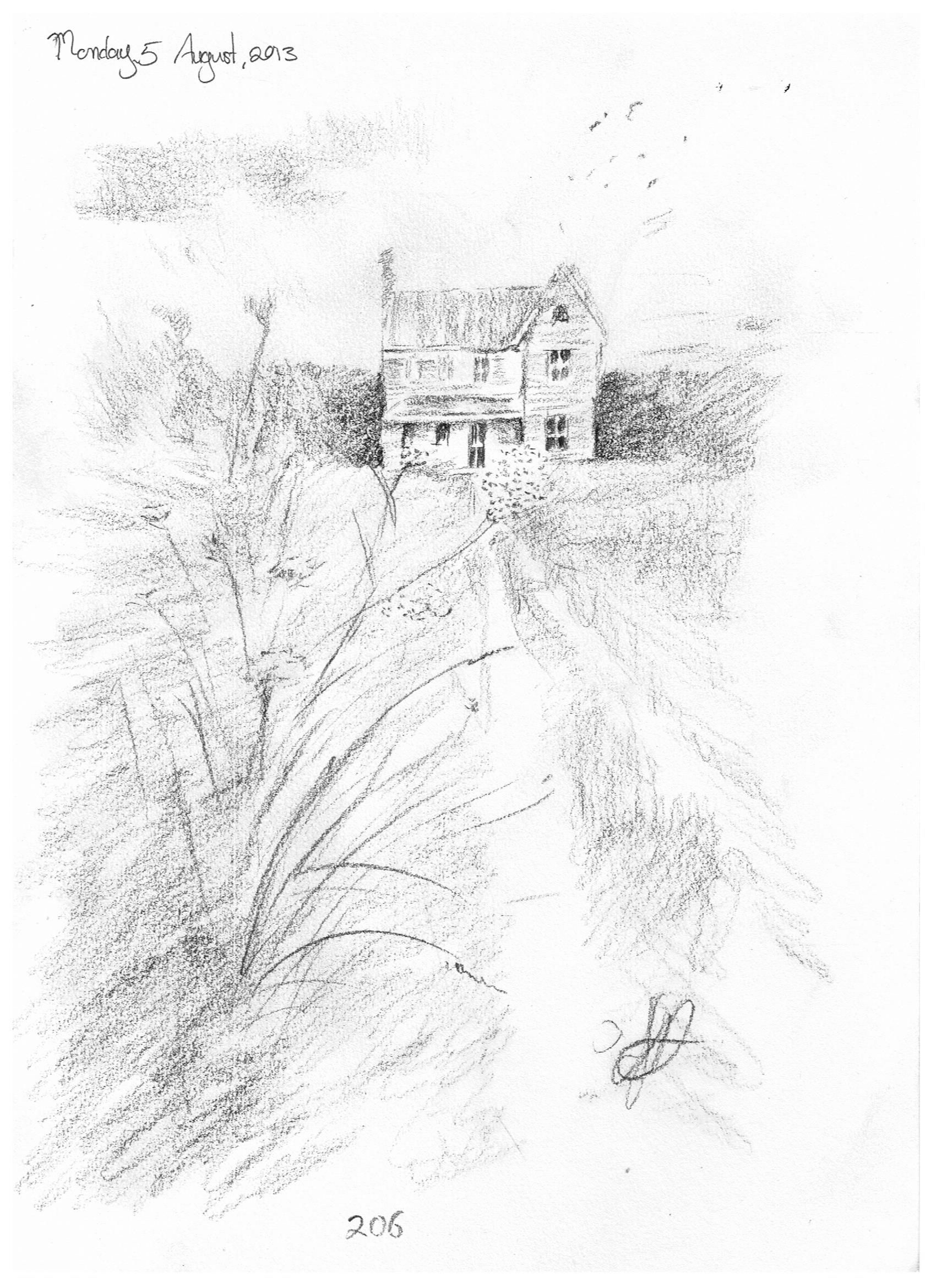 206 old abandoned house charcoal pencil sketch