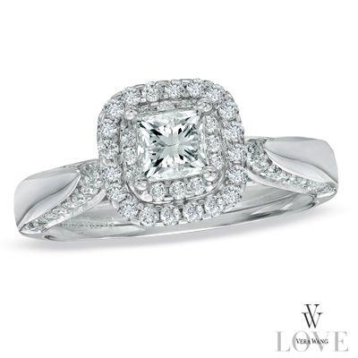 Vera Wang LOVE Collection 7/8 CT. T.W. Princess-Cut Diamond Double ...