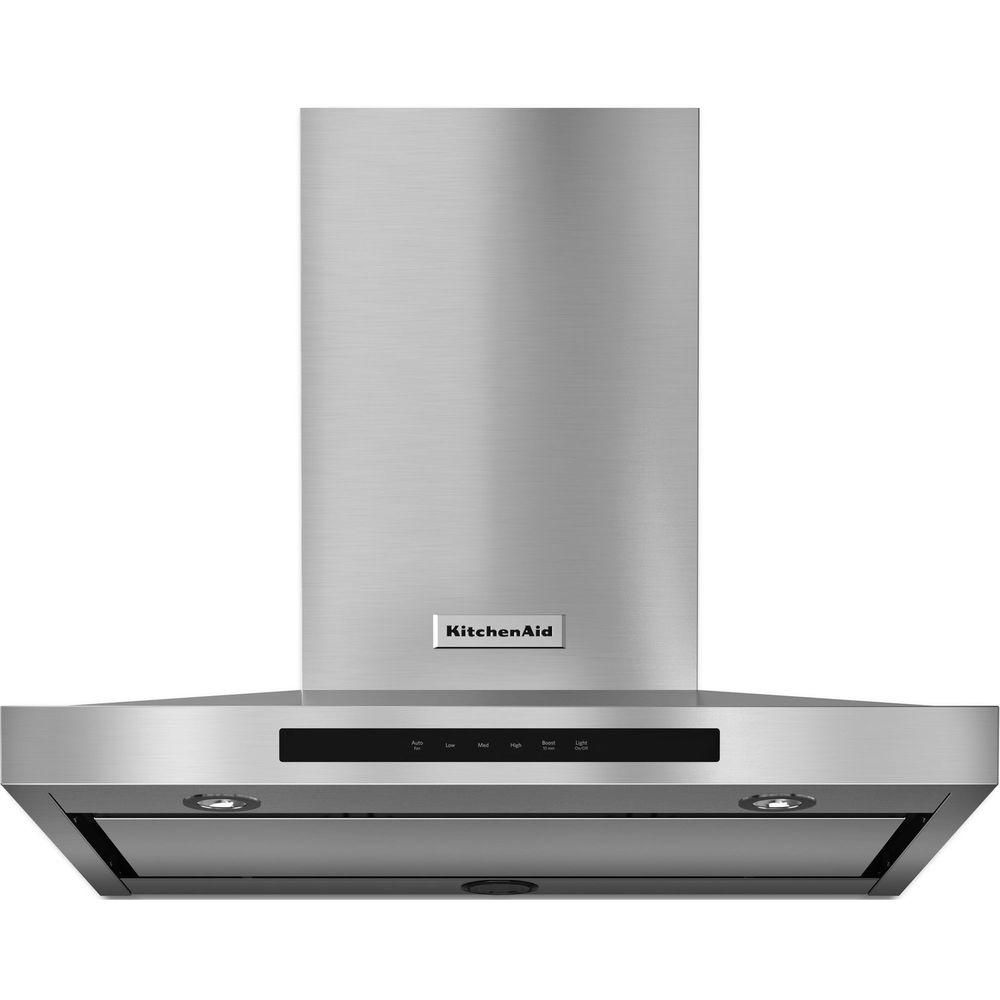 Kitchenaid 30 In Wall Mount Convertible Canopy Range Hood In Stainless Steel Kvwb600dss The Home Depot Range Hood Wall Mount Range Hood Stainless Range Hood