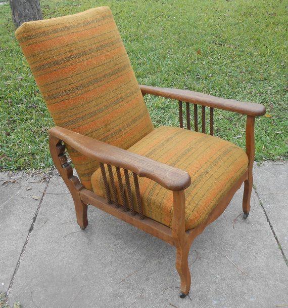 Antique Recliner Morris Chair Arts and Crafts Oak Spindle Adjustable Lounge  Arm Chair - Antique Recliner Morris Chair Arts And Crafts Oak Spindle Adjustable