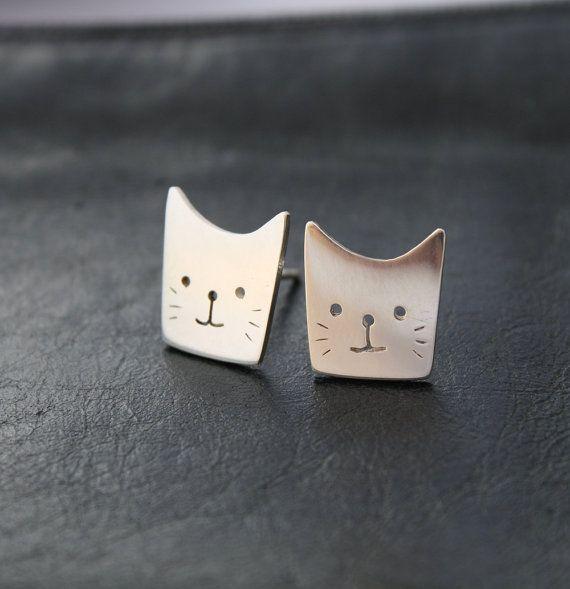 New Silver Gold Rose Plated Cat Kitten Spirit Animal Drop Stud Earrings Gift Bag