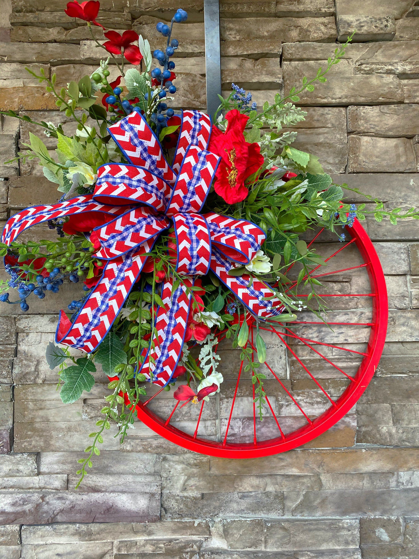 Photo of Spring wreath, summer wreath, wheel wreath, bicycle wheel wreath, wreaths for the front door, patriotic wreath, July 4th wreath, memorial day