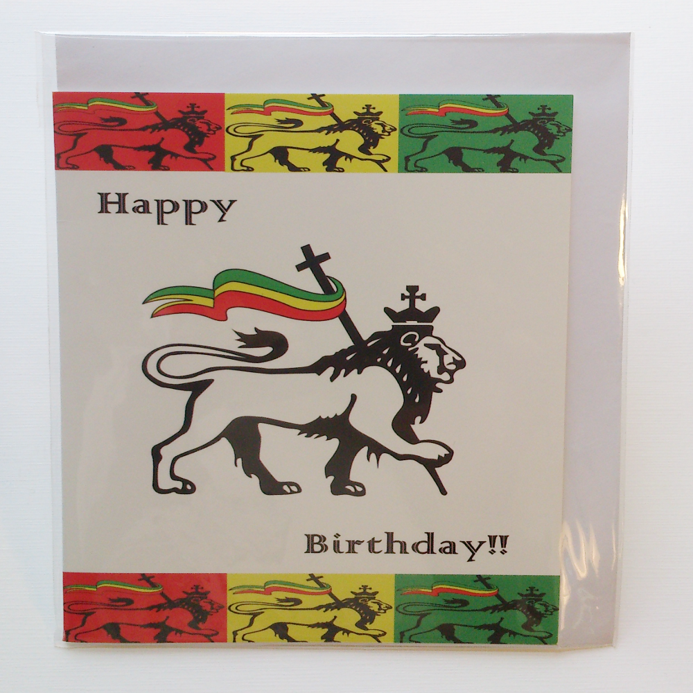 Judah Lion Birthday Card In Jamaican Patwa Kalati First Home Made