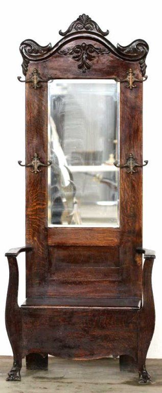 Genial Antique Hall Tree With Beveled Glass Mirror Surrounded By Hat And Coat  Racks, Bottom Bench Opens
