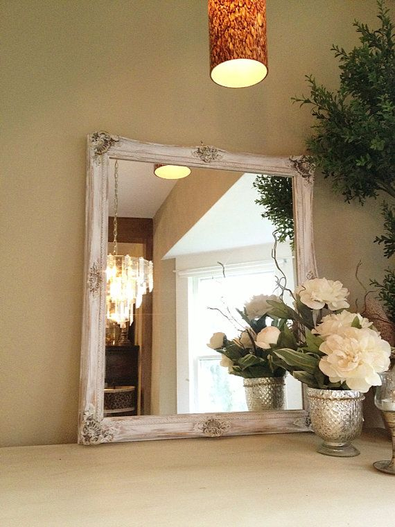 Shabby chic chalk paint mirror white ornate gold baroque for White mirrors for living room