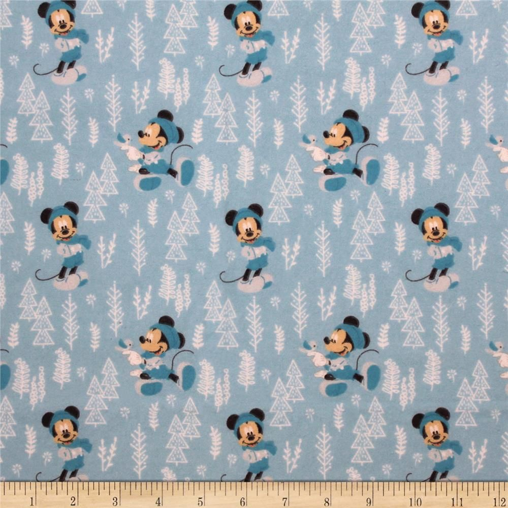Mickey Minnie Mouse Little Meadow Forest Flannel Blue Mickey Minnie Mouse Minnie Mouse Mickey