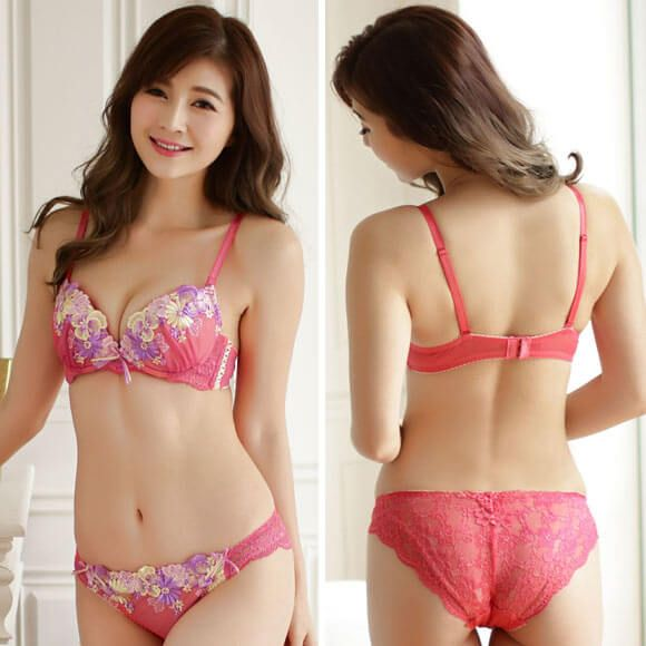 Regalo Spring Flower Lace Bra and Back Lace Panty Set. Japanese Lingerie. 713555545
