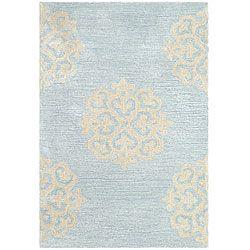 Safavieh Contemporary Handmade Soho Medallion Light Blue New Zealand Wool  Rug (2u0027 X 3