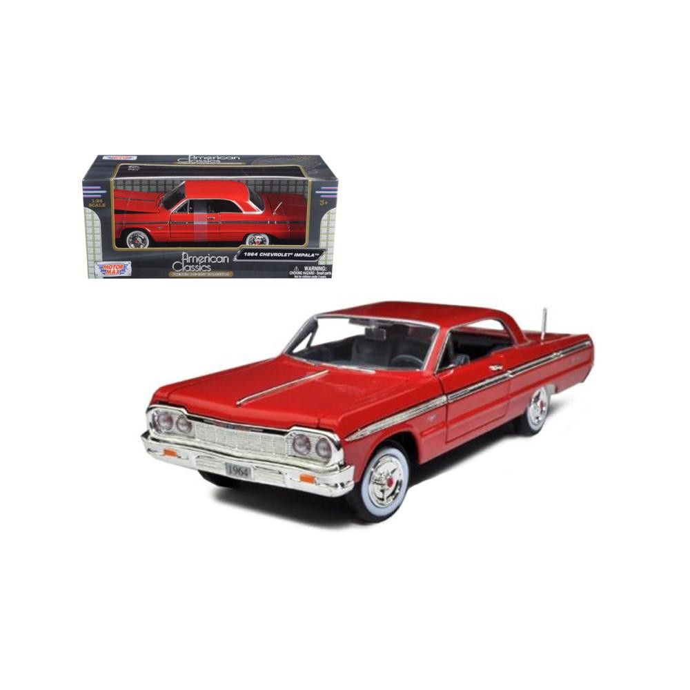 1964 Chevrolet Impala Red 1 24 Diecast Model Car By Motormax