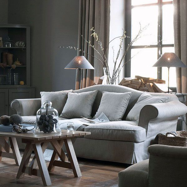 Best Soft Grey Classic Sofa With Cushions Combined By Wood 640 x 480