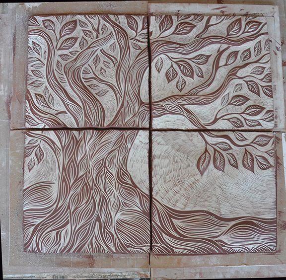 Hand Painted Wall Tiles Simple Ways To Decorate Old: Tree Of Life Ceramic Tile Art, Unglazed