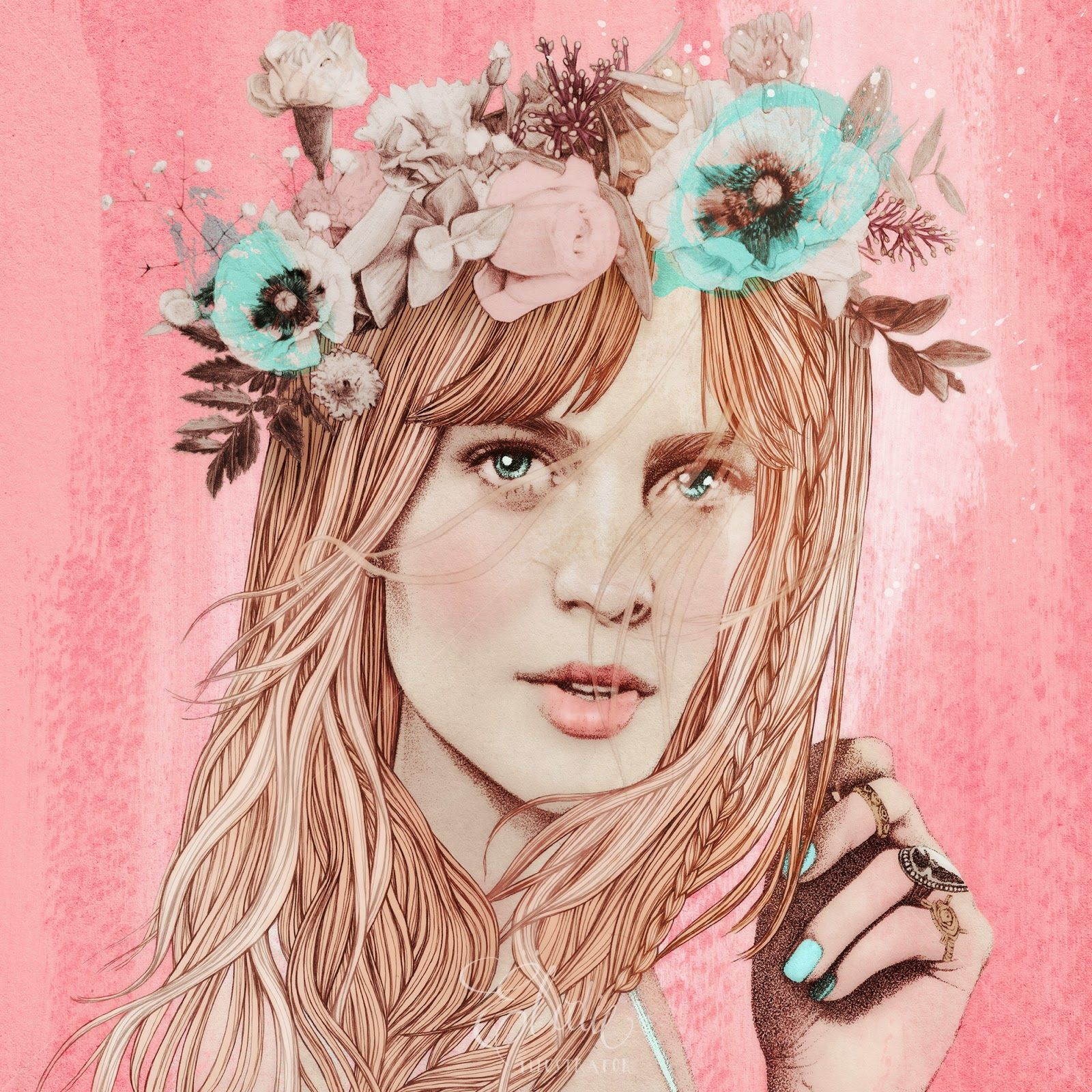 """Jenny, if you are going to our house, please, be sure to wear flowers in your hair. - Illustration by Elodie Nadreau. - Board """"Art-Elodie Nadreau"""". -"""