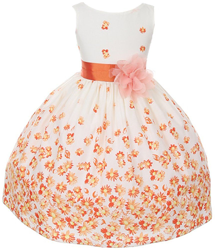 1781fc778dd Your little girl will look very sweet in this white cotton dress with orange  daisy print skirt and 3-D mesh flower at waist (girls sz.2-12) - flower girl