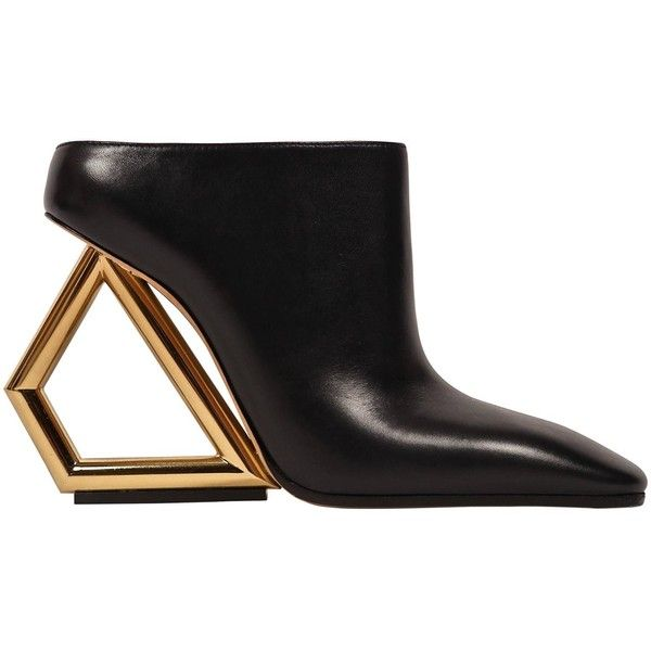 CELINE black leather mules with gold