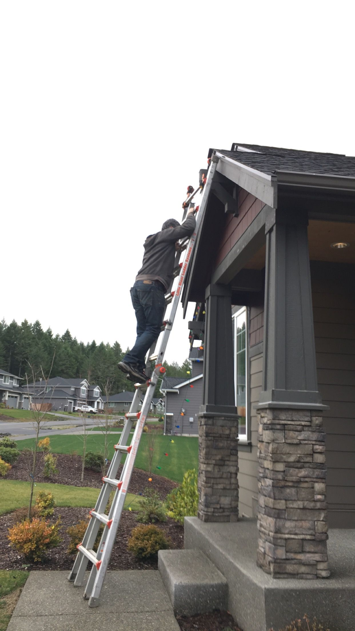 Pin By Bubble Truck Window Cleaning On Christmas Light Hanging Installation Removal Hanging Lights Christmas Lights Installation