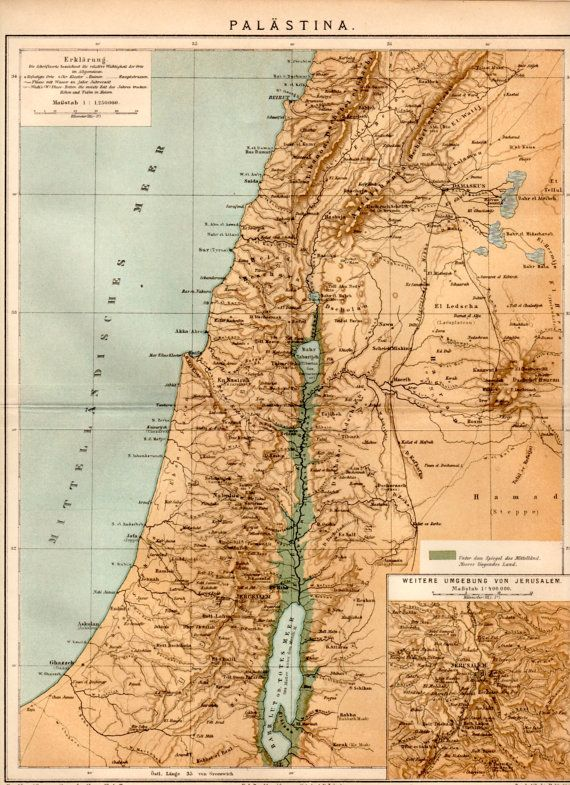 1885 Palestine Map Antique Print Vintage Lithograph Jerusalem