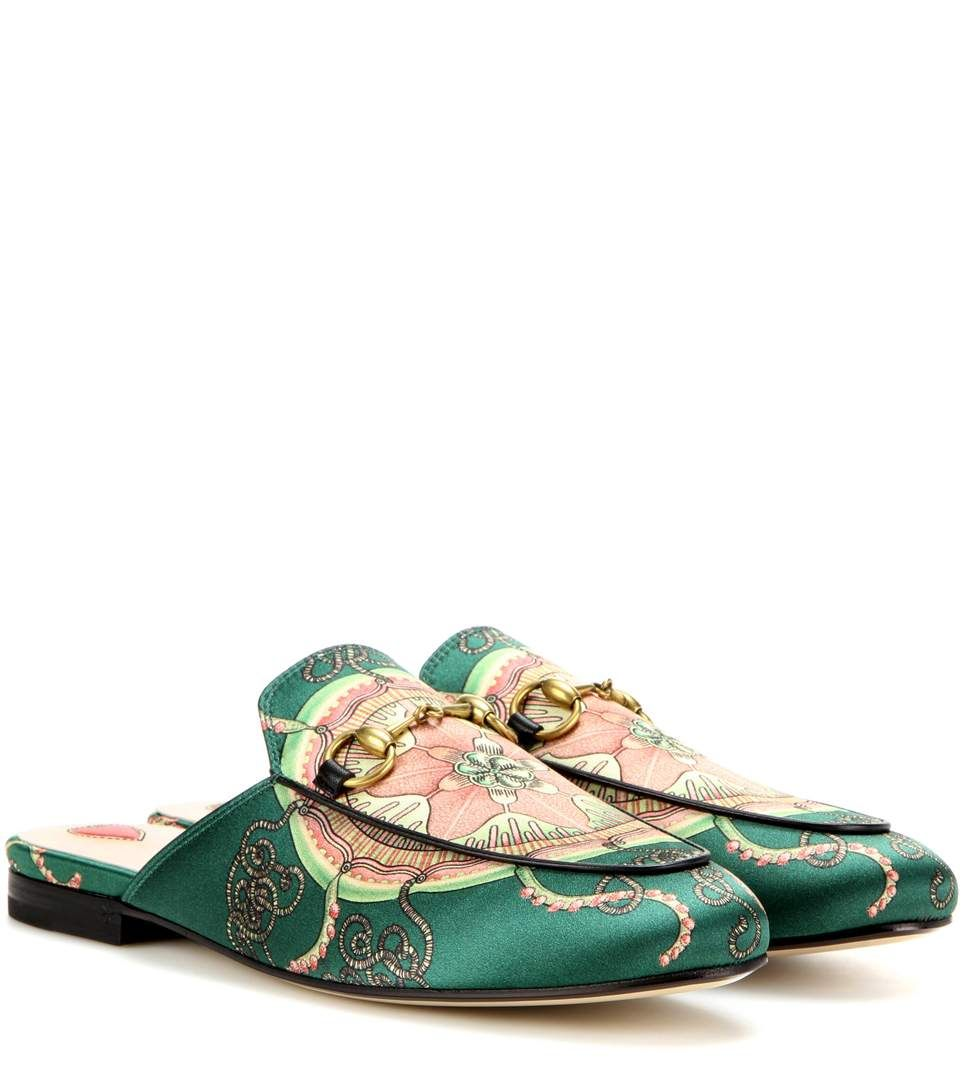 Gucci - Princetown slippers - This detailed pair have been crafted in Italy  from printed satin and are punctuated by the label's iconic horse-bit  hardware.