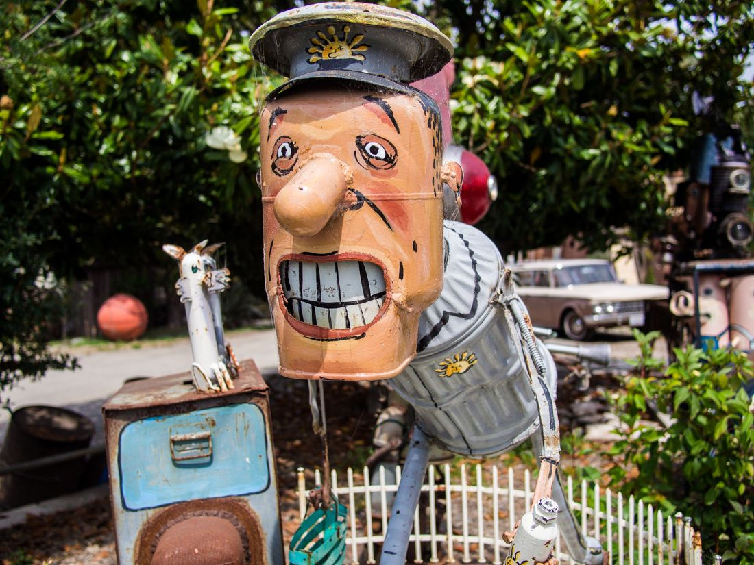 sebastopol s quirky junk sculptures a photo essay photo essay  milkman patrick amiot junk metal sculpture at renga arts sebastopol california