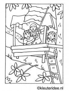 kleurplaat boomhut zomer kleuteridee nl kleurplaten