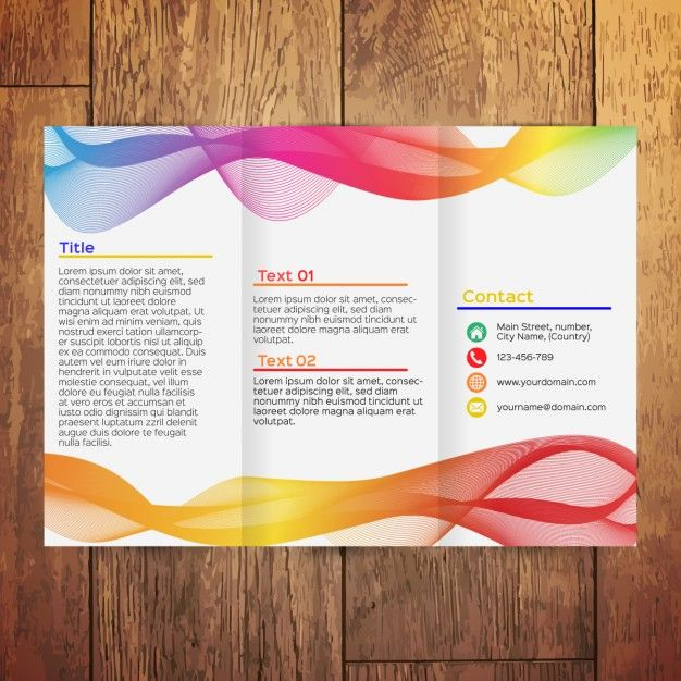 Colorful wavy trifold brochure Free Vector Free Trifold - microsoft tri fold brochure template free