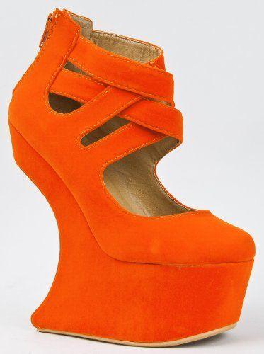 Peep Toe Curve Wedge Platfrom Gaga Ankle Bootie Pump