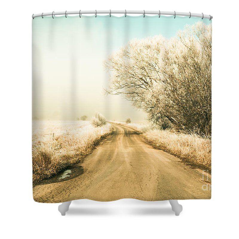 Winter Shower Curtain featuring the photograph Winter Road Wonderland by Ryan Jorgensen