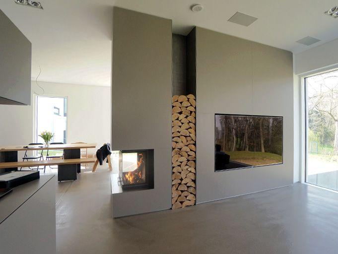 Wohnzimmer, Rückzugsort mit Kamin und der Inszenierung von - wohnzimmer mit offener küche