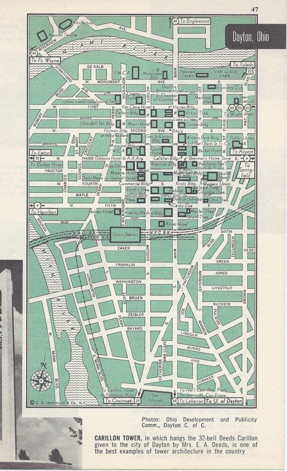 Dayton Ohio Map City Map Street Map 1950s By Vintagebuttercup Ohio Map Dayton Ohio Retro Map Decor