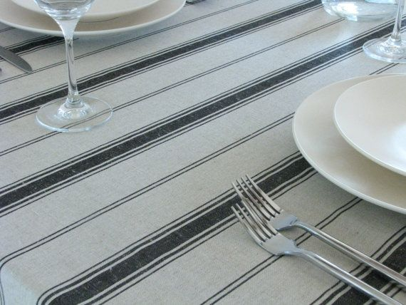 Linen Tablecloth Striped Black Stripes Country