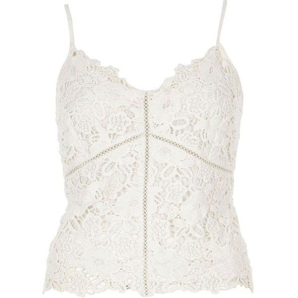0e4561e40ec87 River Island White lace cami top ($60) ❤ liked on Polyvore featuring tops,  blouses, crop tops / bralets, white, women, lace trim cami, lace camis, ...